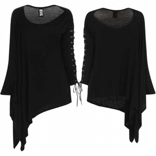 NECESSARY EVIL Gothic Black NYX  Asymmetric Laced Top